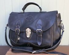 Delta Leather Products Canada Black Leather Saddle Leather Satchel Messenger Bag