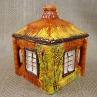 Vintage Conservazione Barattolo Cottage Oggetto Mano Dipinta Ceramica in Paglia