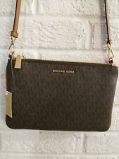 NWT Michael Kors Jet Set Large Double Pouch Brown Cross-Body msrp $198