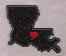 Embroidered Black Glitter Sparkle Louisiana LA Love State Patch Iron On Sew USA