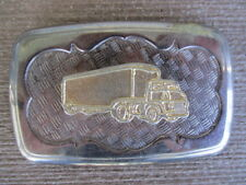 Truck & trailer Collector belt buckle gold colored unknown maker pewter