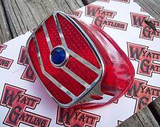 Wyatt Gatling Tail Light Taillight Lens with Blue Dot and V-Trim Chrome Harley