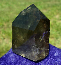 Rutiles in Smoky Quartz Crystal Point Also Internal Phantom Layers