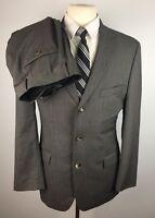 Hugo Boss Men's 40R Gray Rossellini Wool 2 Piece Suit With Pants (32Wx30L)