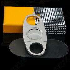 COHIBA Stainless Steel Pocket Cigar Cutter Knife Double Blades Scissors Gift Box