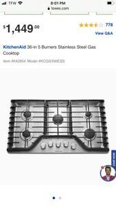 "KitchenAid 36"" 5-Burner Gas Cooktop - Stainless Steel (KCGS356ESS)"