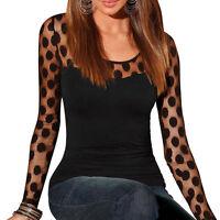 Fashion Women's Polka Dot Long Sleeve Shirts Casual Lace Blouse Tops Tee  Gift