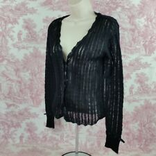 Wet Seal Mohair Sweater Womens Long Sleeve Size Small Satin Ribbon Trim Black