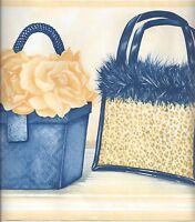 Ladies Purses / Purse in Yellows & Blues Wallpaper Border RY3363B
