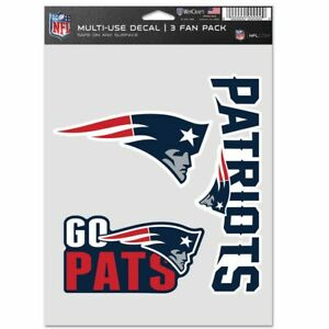 """NFL New England Patriots Multi Use 3 Fan Pack Decal / Sticker Sheet 5.5"""" x 7.5"""""""