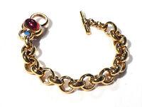 Bijou alliage doré bracelet maille fantaisie cabochon de lucite bangle
