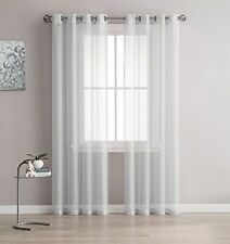 NEW - Linen Zone 2-Piece 54-by-63-Inch Grommet Sheer Panel Curtains, Silver