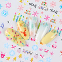 12patterns Water Decals Christmas Snowflakes DIY Nail Art Transfer Stickers Tips