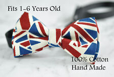 Boy Kids Baby UK United Kingdom BRITISH Flag Cotton Bow Tie Bowtie 1-6 Years Old
