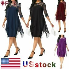 Women's Plus Size Irregular Hemline Loose Chiffon Lace Party Evening Midi Dress