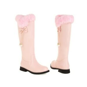 Womens Casual Round Toe Knee High Boots Princess Winter Warm Sweet Faux Fur Shoe