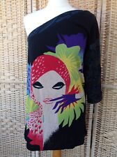 CUSTO BARCELONA 4 UK 14 One Shoulder Tunic Top Lady Face Print Pop Art Retro