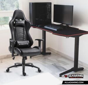 E - Gaming Chair - Black Office Chair Pillows Included - Brand new