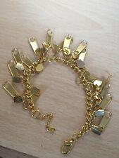 Moda Estilo Joyería Bracelet inusualmente Cremallera pulsera con dijes de oro de tono
