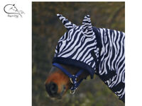 Waldhausen Zebra Horse Pony Fly Mask Hood Ears All Sizes  FREE Delivery