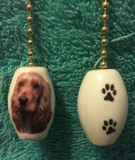 """One Red Cocker Spaniel Dog Fan Pull With Paw Prints On The Back 1"""""""