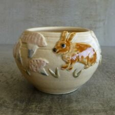 Vintage Enid W Pottery Small Bowl Rabbit Mushrooms Australian 1993 Hare Signed