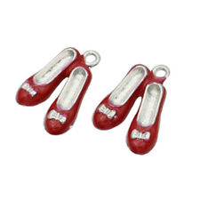10PCS Red Enamel Women Shoe Charm for Jewelry Making Bracelet Accessories DIY