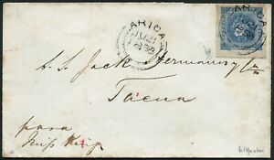 Peru 1858 Brief 1 Dinero EF Britische Auslandspost Arica nach Tacna / 25 RAR