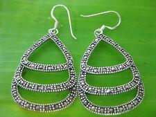 100% REAL 925 sterling silver SWISS MARCASITE Teardrop Women Bridal Earrings