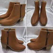 Mint Velvet Women's Tan Brown Leather Sz 8 Uk 41 Eu Zip Ankle Chelsea Boots New