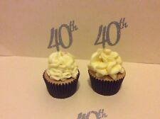 40th BIRTHDAY OR ANNIVERSARY GLITTER SILVER CUP CAKE TOPPERS X 12