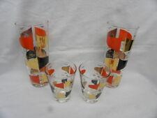 4 Vint. 1950's/60's Whiskey & Iced Tea Glasses w/Orange, Black & Gold Decoration