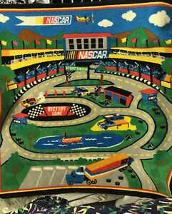 """NASCAR Rug Play Mat Speedway Race Track Hot Wheel Cars Road Rally 3'3""""x4'10"""""""