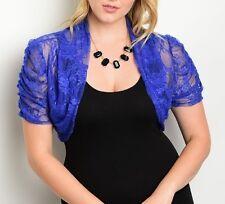 Lace Ruched Short Sleeve Crop Bolero/Shrug Cover-Up Plus Top 1XL/2XL/3XL Colors