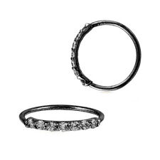 Sterling Silver 925 Black IP Plated 7 CZ Accent Hoop Helix Tragus Nose Ring 20G