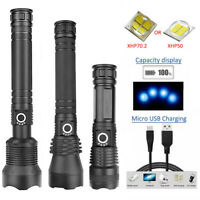 90000LM/30000LM Zoom USB Powerful LED Flashlight Torch Light Lamp XHP50/ XHP70.2