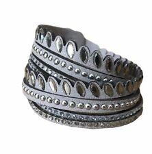 Grey Bracelet Wrap Around Grey Faux Suede Glittery Diamante Glitter Bangle New