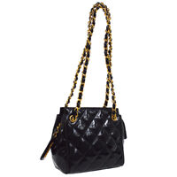 CHANEL Quilted CC Double Chain Shoulder Bag Black Patent Leather 3848332 JT08741