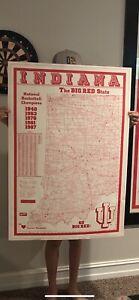 Vintage IU Indiana Hoosiers poster / sign