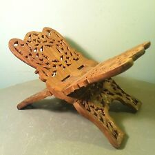 Vintage Intricate Carved Shesham Wood Bible ~ Book Holder / Rest By SARNA India