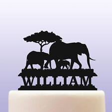 Personalised Acrylic African Elephant Birthday Cake Topper Decoration