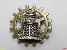 steampunk brooch badge pin cog gearwheel silver dalek Doctor Who timelord sci-fi