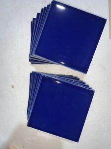 "20 Vintage Ceramic Tile 105 Royal Blue 4-1/4"" x 4-1/4""  American Olean 105441P"