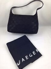 Jaeger Signature Black Hand Bag Purse With Dust Bag Made In Italy
