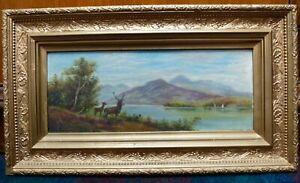 Highland Stag Deer Scottish landscape gold framed antique old oil painting art