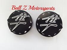 08-13-17 Hayabusa Black/Silver 3D Engraved Hex Fork Covers Caps w/Ball Cut Edges