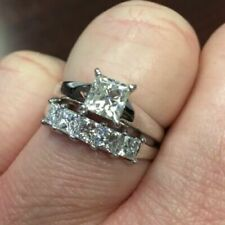 Wedding Band Set 14k Gold Over 3ct Diamond Solitaire Engagement Ring Five Stone