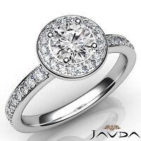 Round Cut Diamond Halo Pave Set Engagement Ring GIA I VS2 18k White Gold 1.16Ct