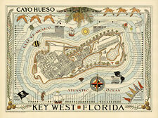 Cayo Hueso Map of Vintage Key West Florida Travel Wall Art Poster Print Repro