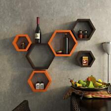 Hexagon wall shelf, wooden wall shelf Set of 3 (Orange & Brown)